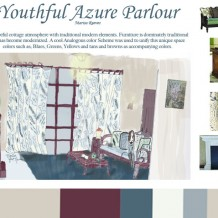Youthful Azure Parlour-Rendered Living room cottage