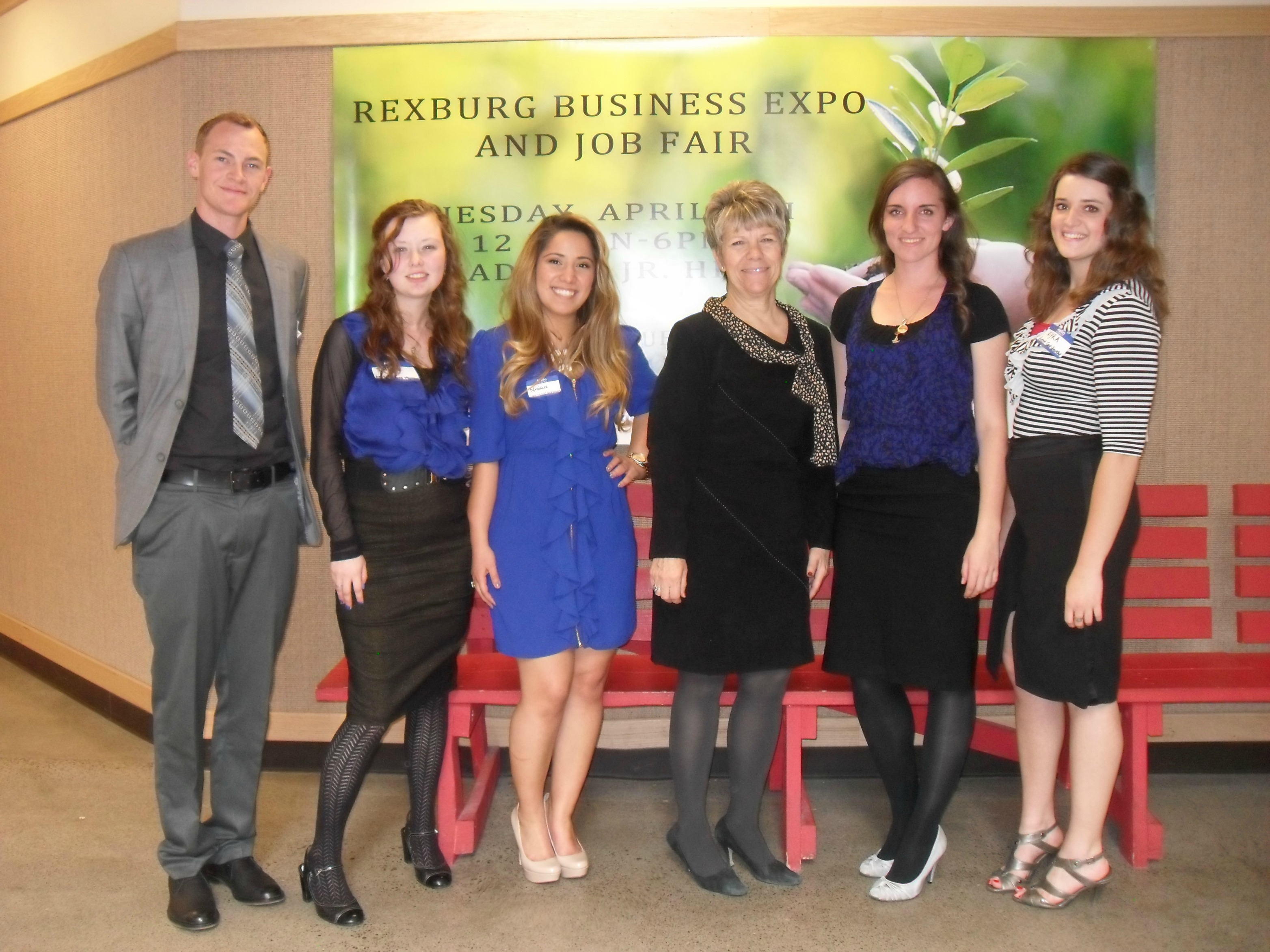 Rexburg Business Expo Student Event Management Group with our supervisor Donna Benfield of the Chamber of Commerce (black dress)